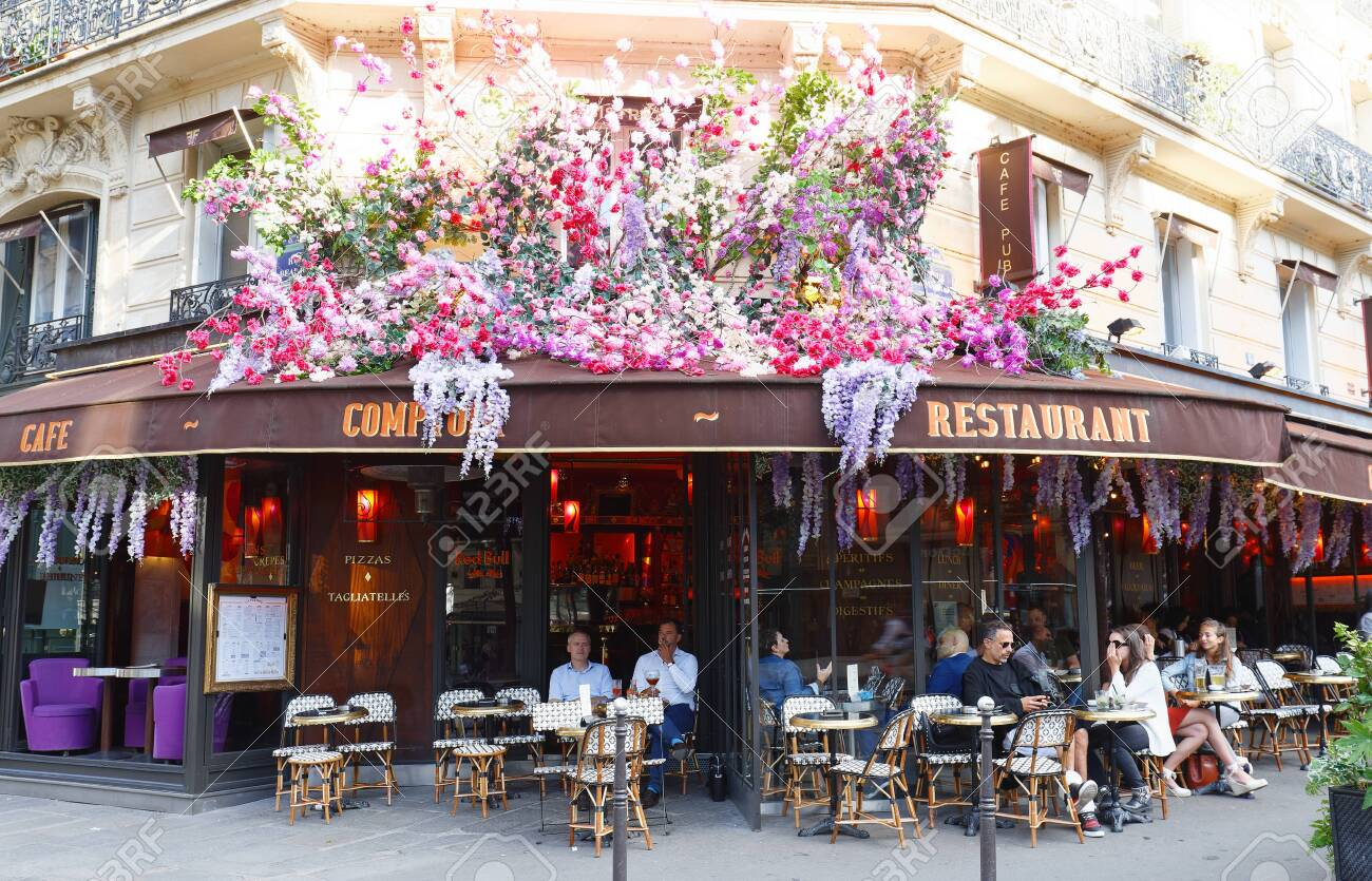 The Vintage Cafe Comptoir Decorated With Flowers Paris France Stock Photo Picture And Royalty Free Image Image 150896719