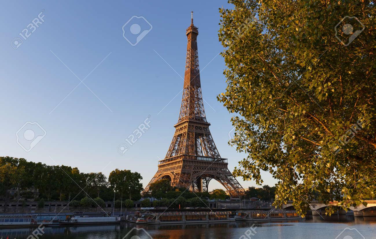 Eiffel Tower, iconic Paris landmark with vibrant blue sky - 151496434