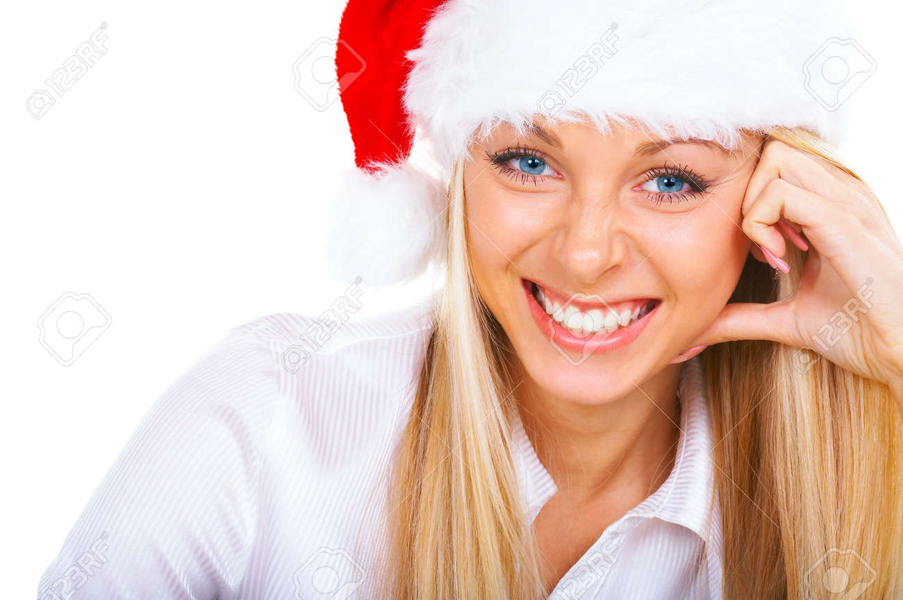 Attractive smiling blonde woman in Santa Cap Stock Photo - 721551