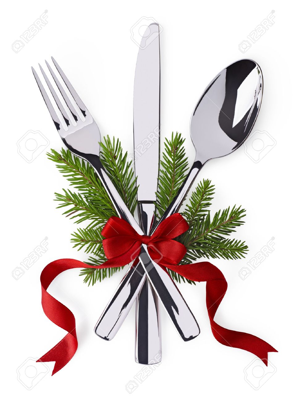 christmas and new year silverware for celebration as invitation christmas and new year silverware for celebration as invitation design background stock photo 31036412