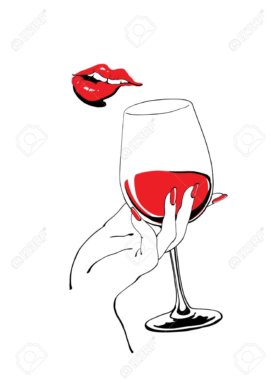 Playful red lips and glass of wine holding hand vector illustration for party poster design - 36959952