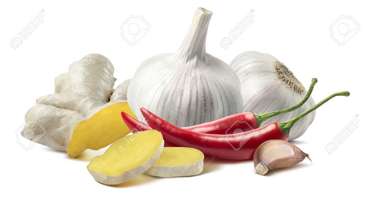 Chili Bilder garlic chili composition isolated on white background as