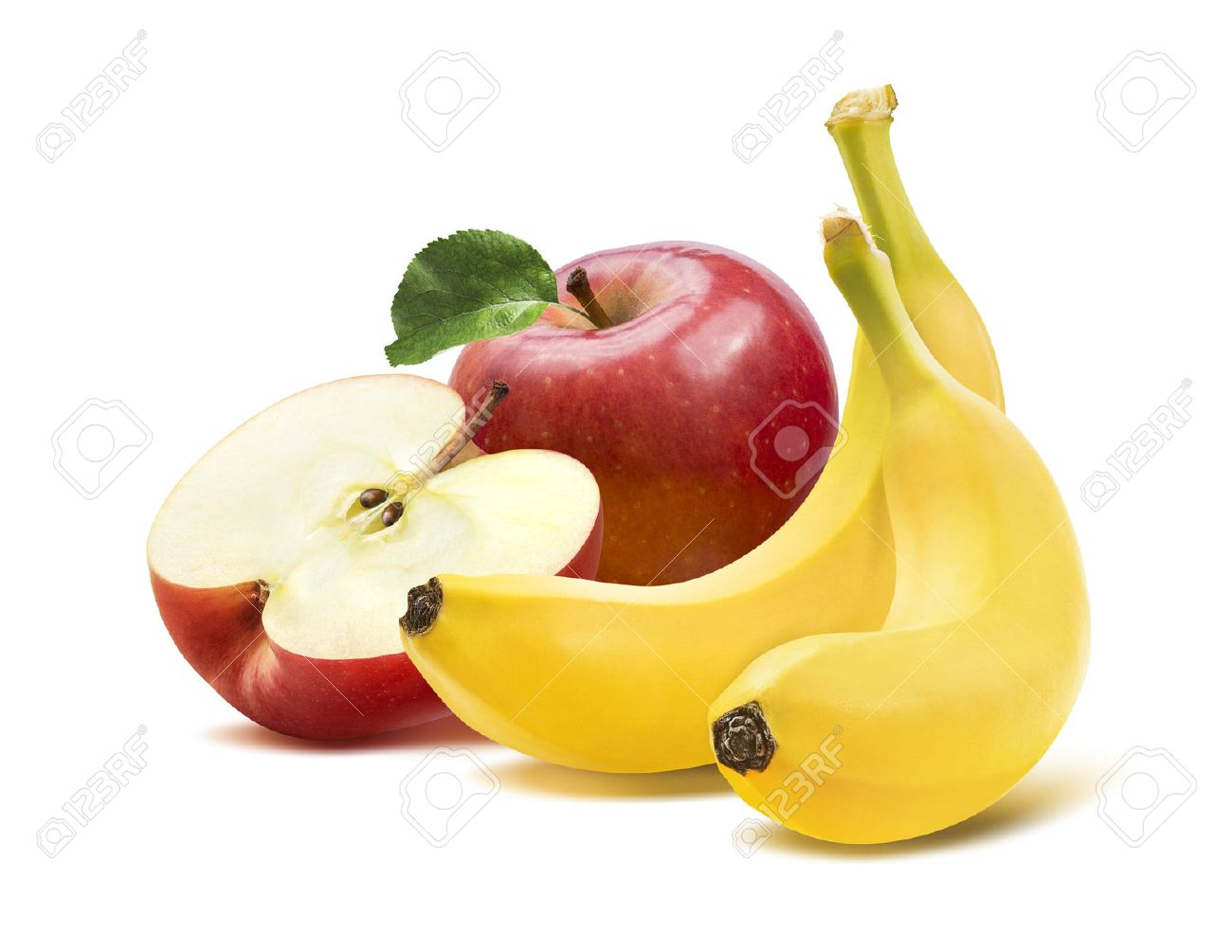 Banana and apples square composition 2 isolated on white background as package design element - 40623737