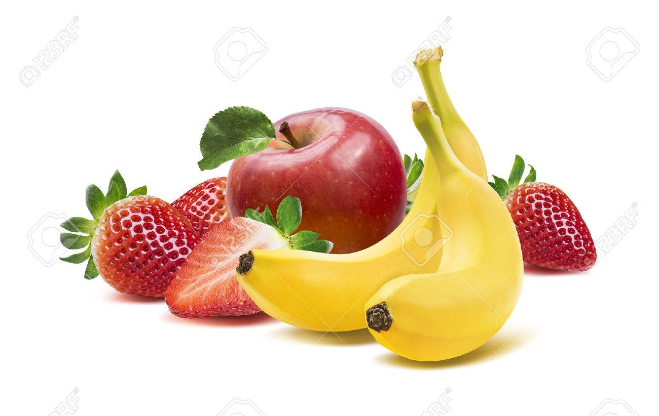 Banana, apples and strawberry composition 4 isolated on white background as package design element - 40947691