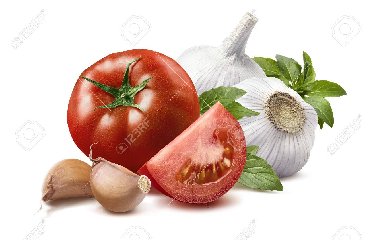 Tomato, basil leaves, garlic bulbs, cloves 2 isolated on white background as package design element - 41250566