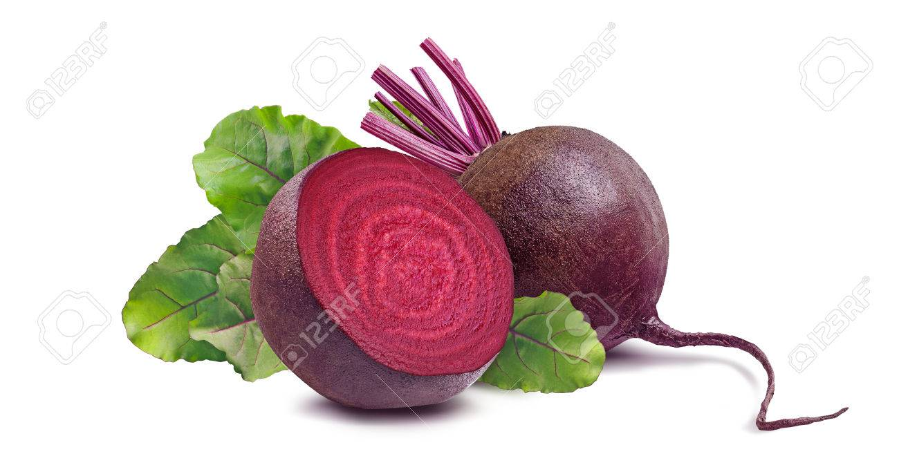 Whole beet root and half isolated on white background as package design element - 44169261