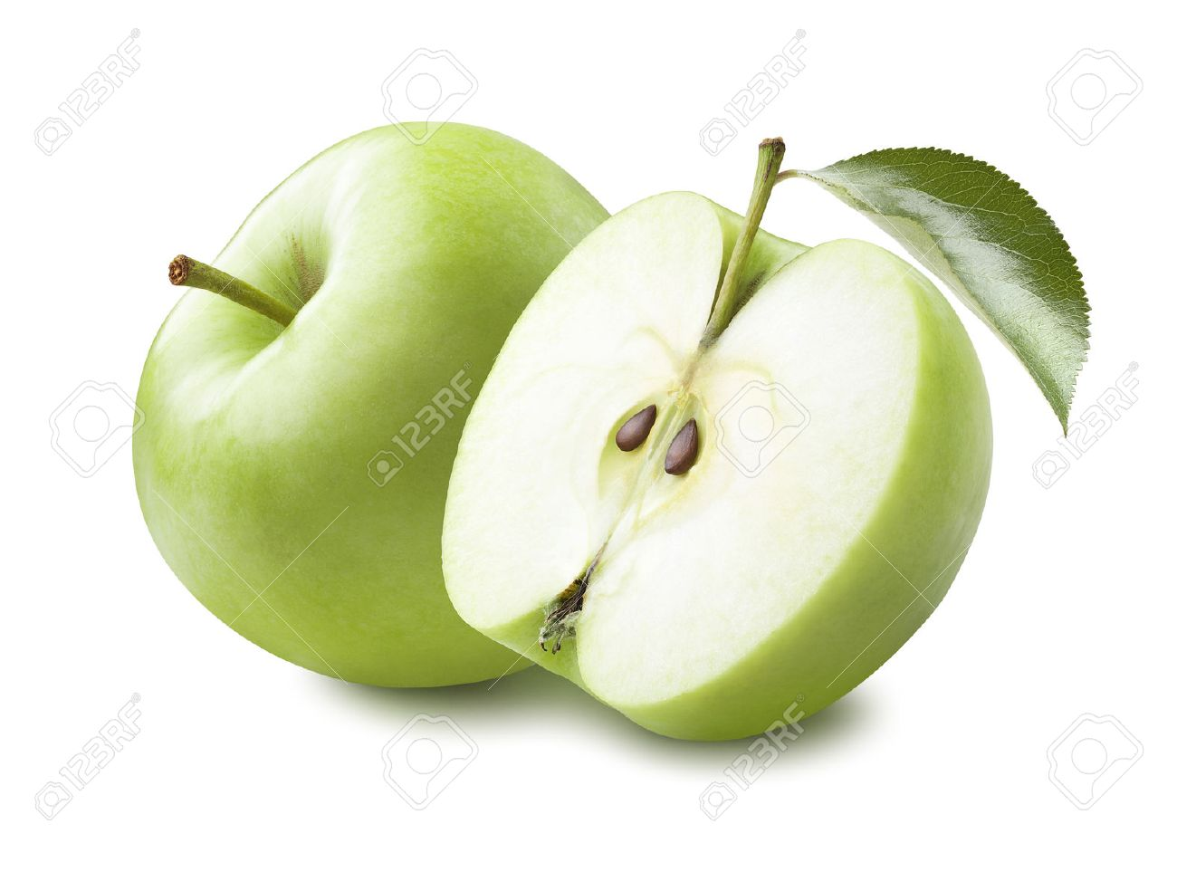 Whole green apple and half with leaf isolated on white background as package design element - 45293072