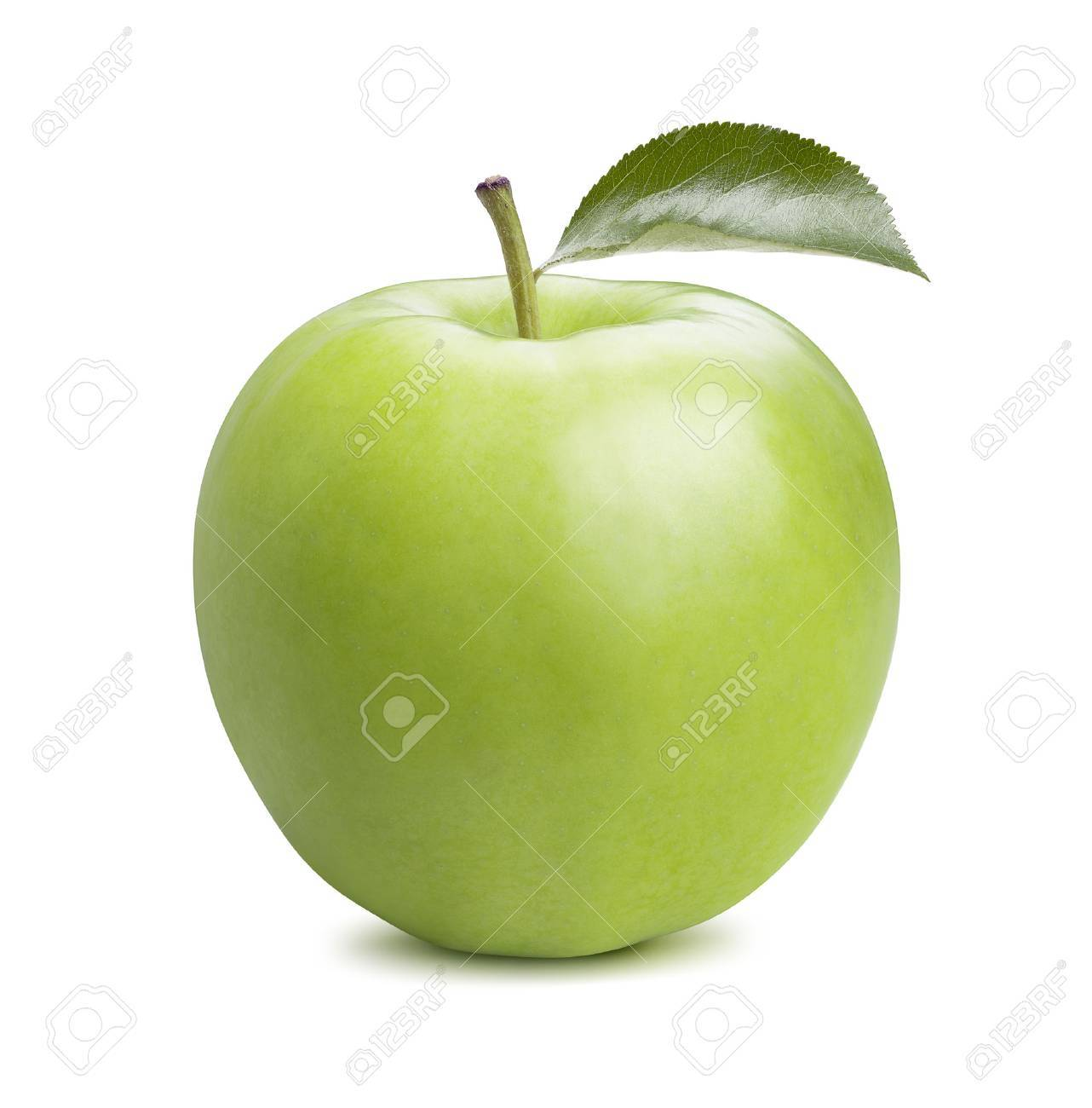 Single whole green apple isolated on white background as package design element - 45293077