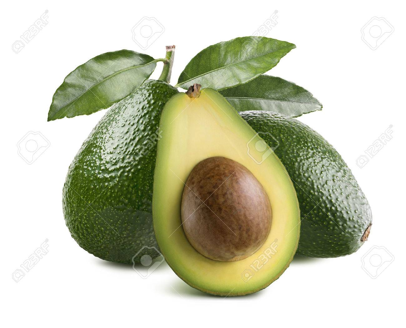 Whole avocados leaves and half with seed isolated on white background as package design element - 47397555