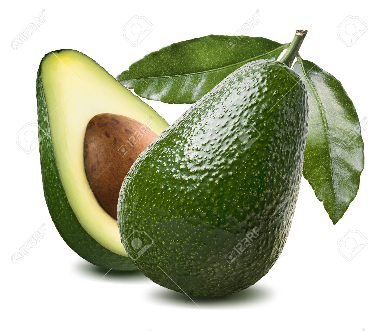 Whole fresh green avocado with leaf and half isolated on white background as package design element - 47397936