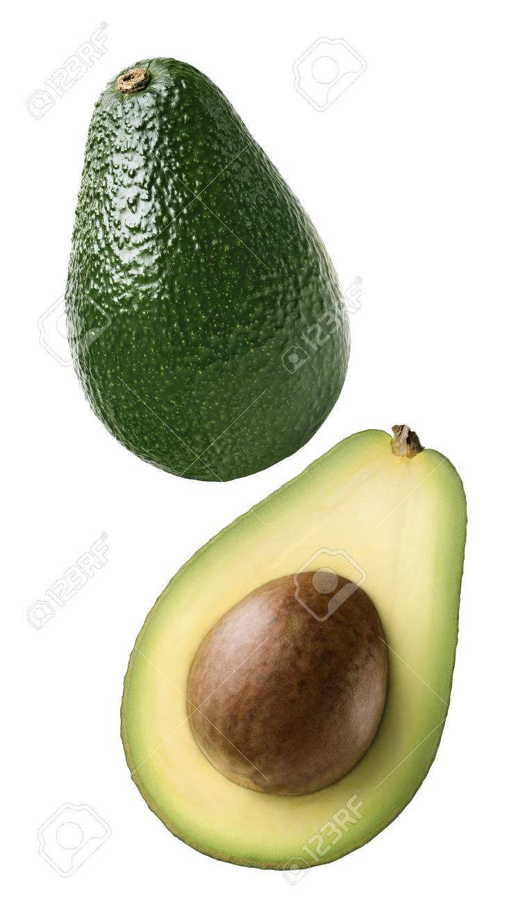 Double avocado vertical cut combo isolated on white background as package design element - 47719436