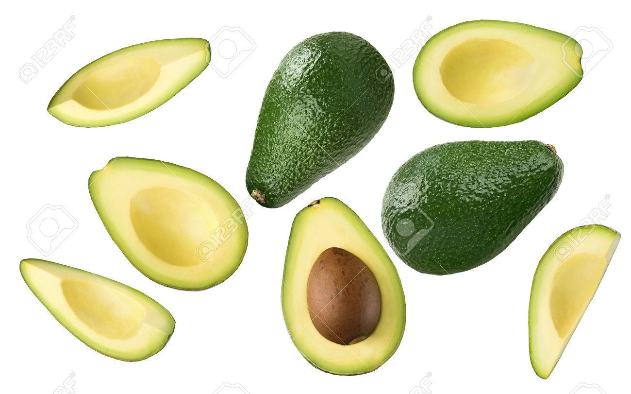 Avocado pieces set isolated on white background as package design element - 47719442