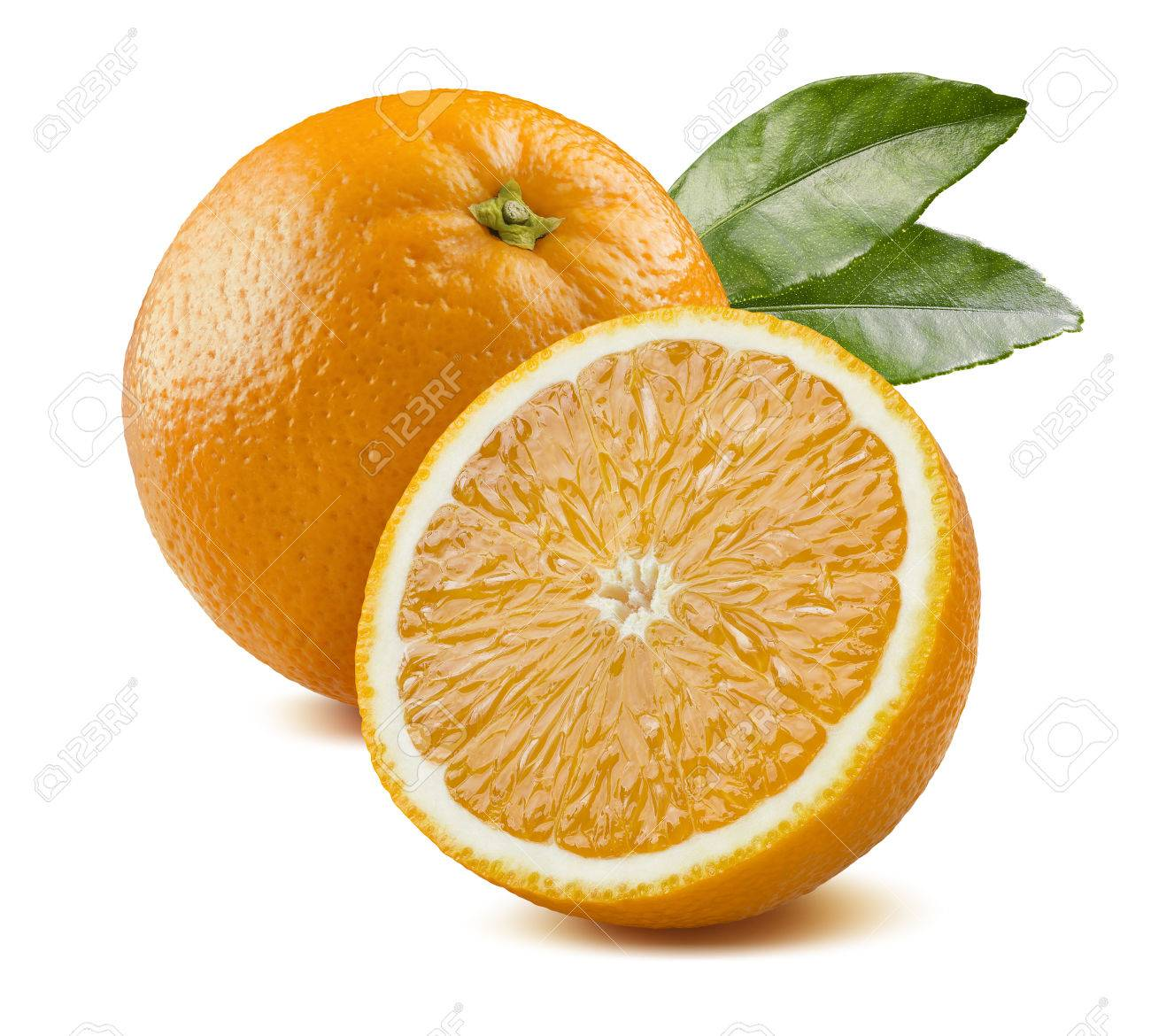 Fresh orange fruit with leaves and half piece isolated on white background as package design element - 48890540