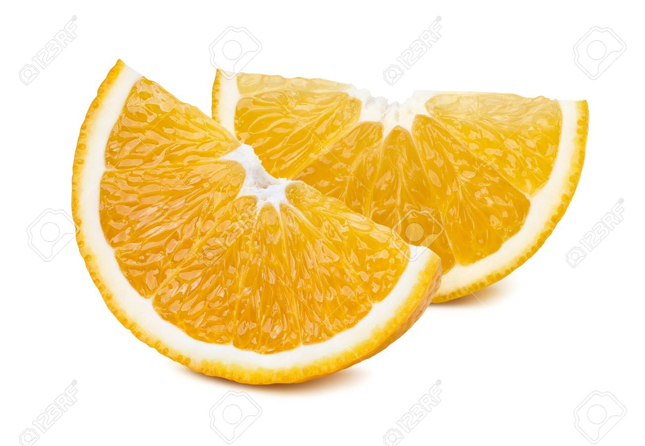 2 orange quarter slices isolated on white background as package design element - 49153419