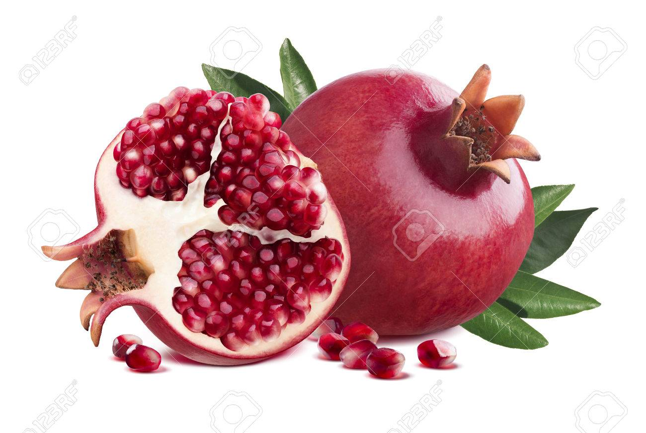Red whole pomegranate and half piece with leaves isolated on white background as package design element - 50055298