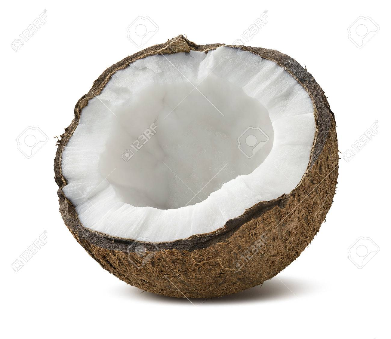 Coconut half broken isolated on white background as package design element - 50162515