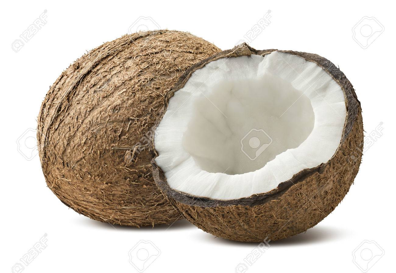 Rough coconut whole half pieces isolated on white background as package design element - 50236601