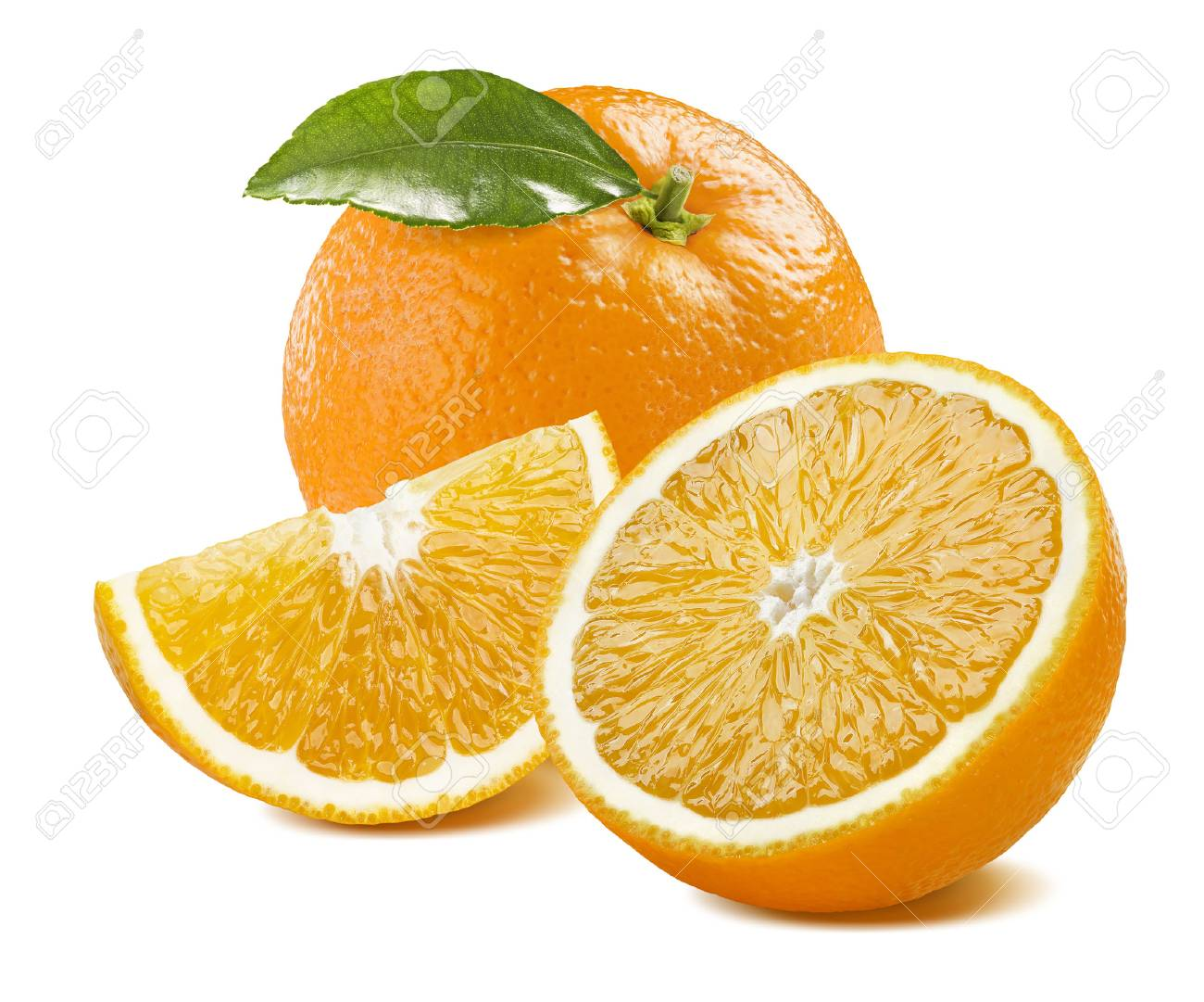 Orange whole with leaves, half and quarter composition isolated on white background as package design element - 51009836