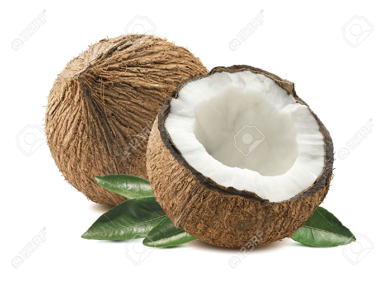 Coconut whole cut half leaves composition isolated on white background as package design element - 51015865