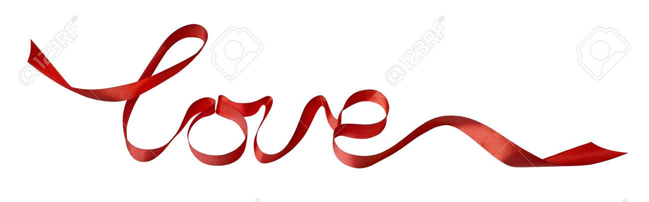 valentine red love ribbon design element isolated on white
