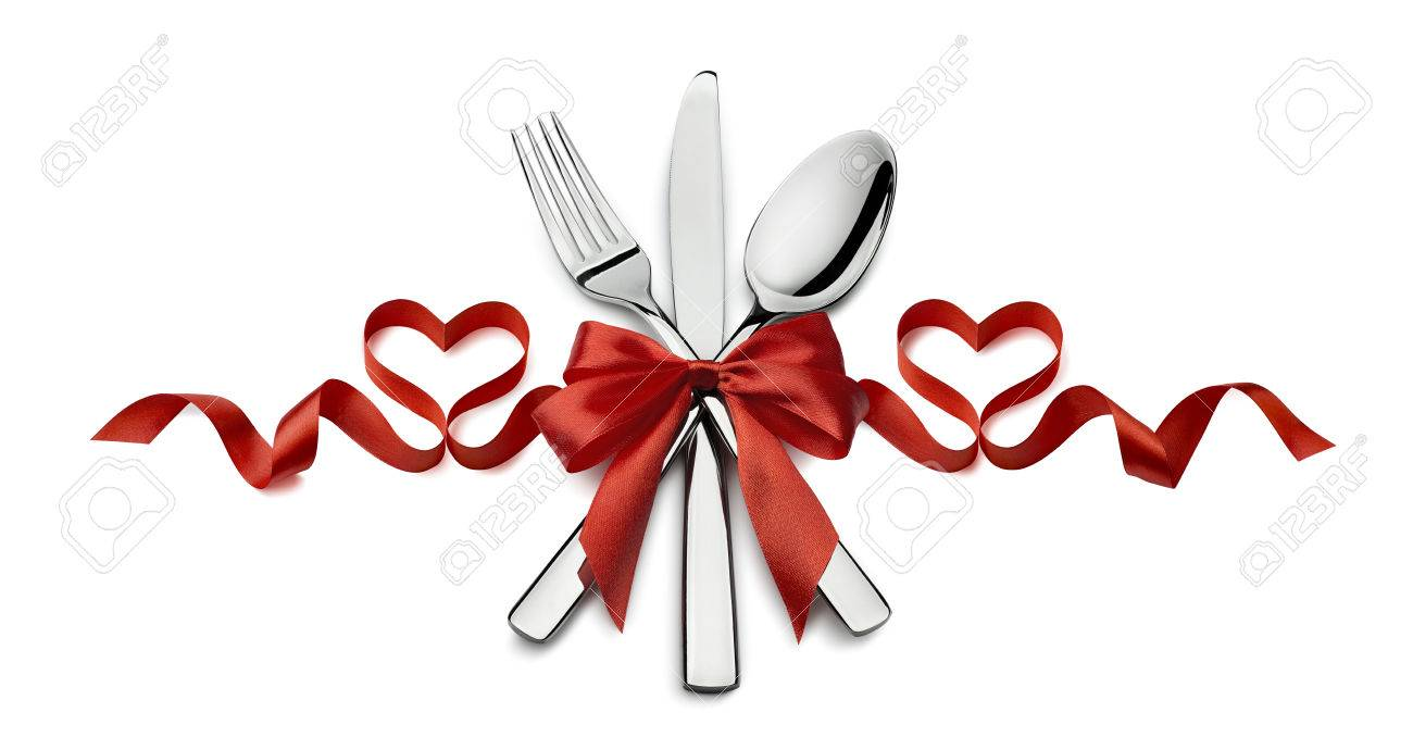 valentine fork knife spoon silverware in red ribbon heart shape design element isolated