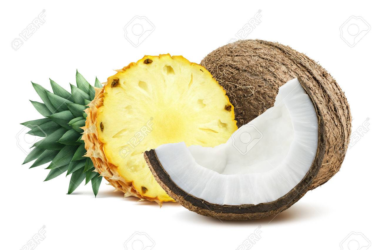 Pineapple coconut pieces composition 1 isolated on white background as package design element for tropical cocktails - 51507377
