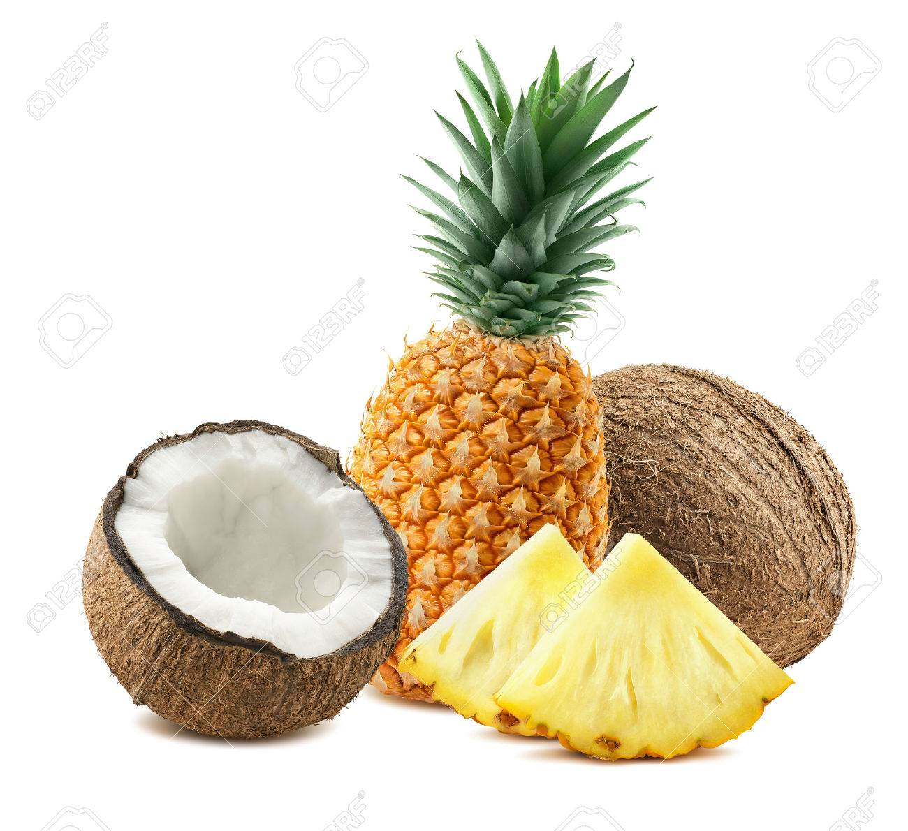 Pineapple whole coconut pieces composition 3 isolated on white background as package design element for tropical cocktails - 51507376