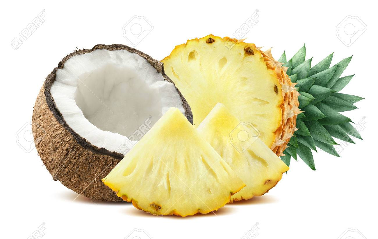 Pineapple coconut pieces composition 2 isolated on white background as package design element for tropical cocktails - 51507379