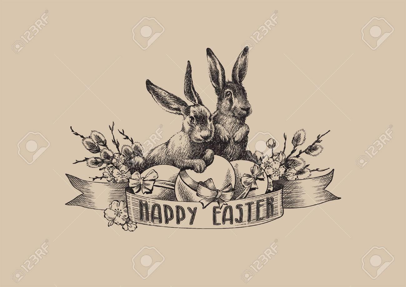 Vintage black easter bunnies willow eggs illustration - 53531026