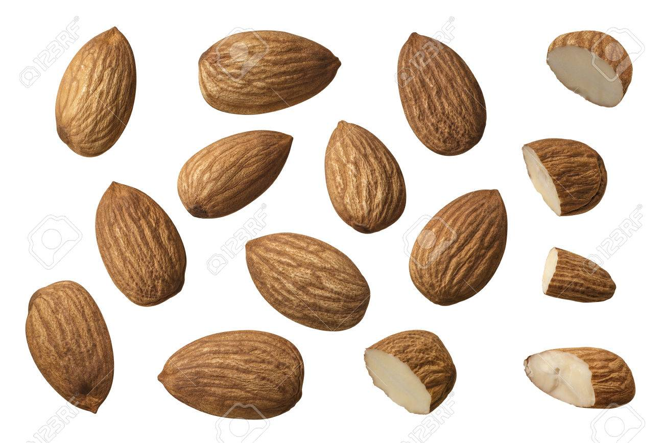 Almond nut set selection isolated on white background as package design element - 55014782