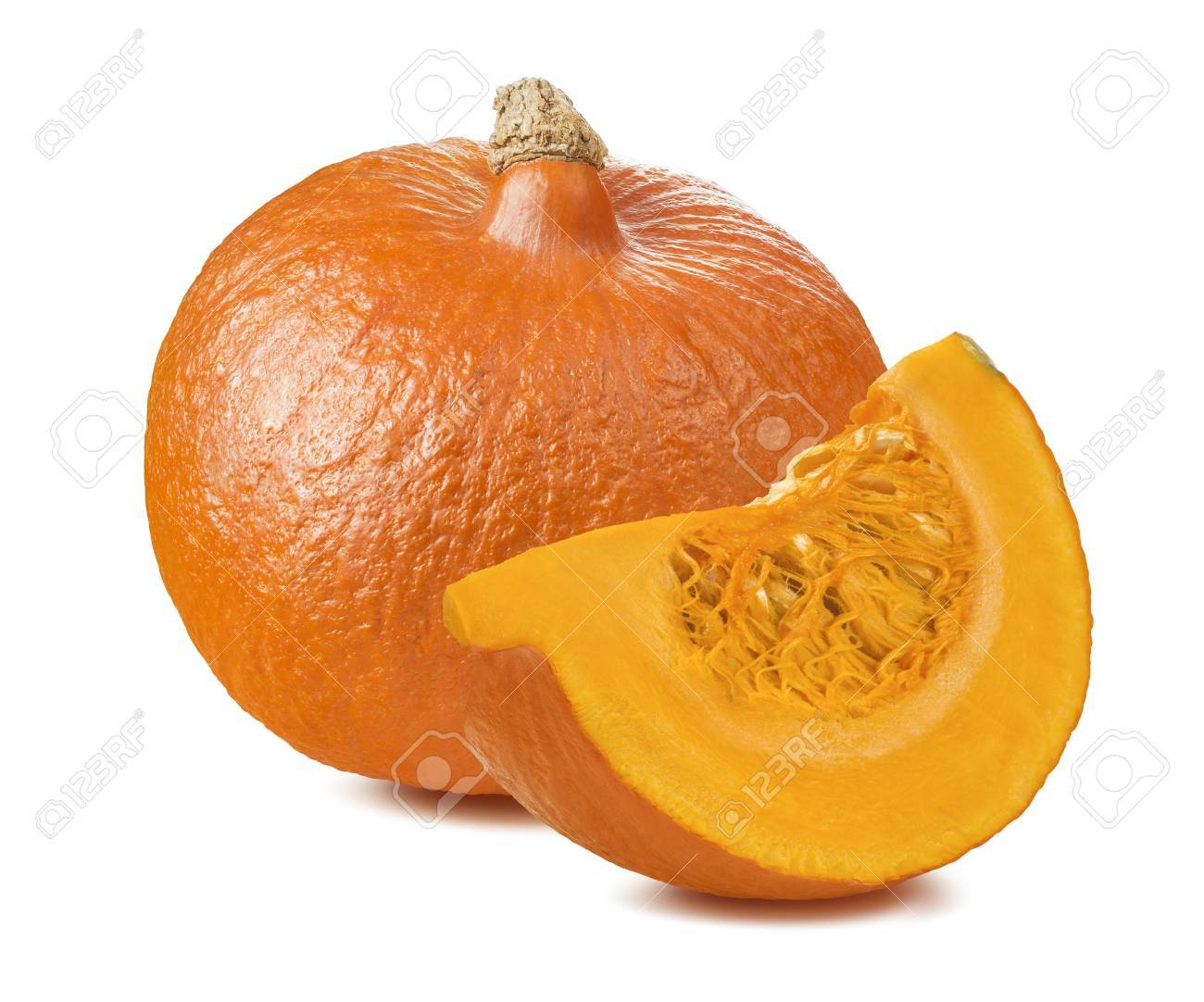 Pumpkin whole segment piece 2 isolated on white background as package design element - 55937973