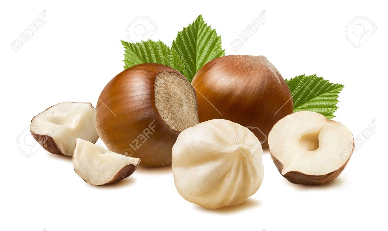 Hazelnut nut many leaves isolated on white background as package design element - 57008363