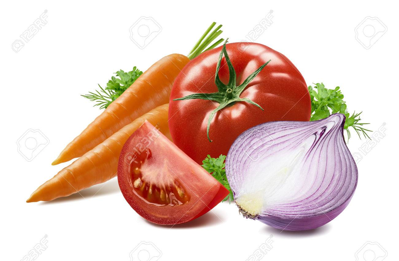 Carrot tomato herbs red onion isolated on white background as package design element - 57008503