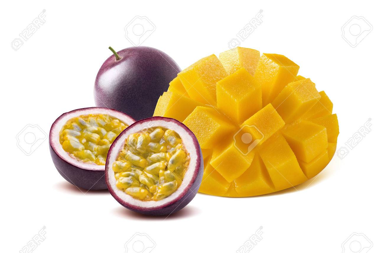 Mango cut maraquia passion fruit isolated on white background as package design element - 57008508