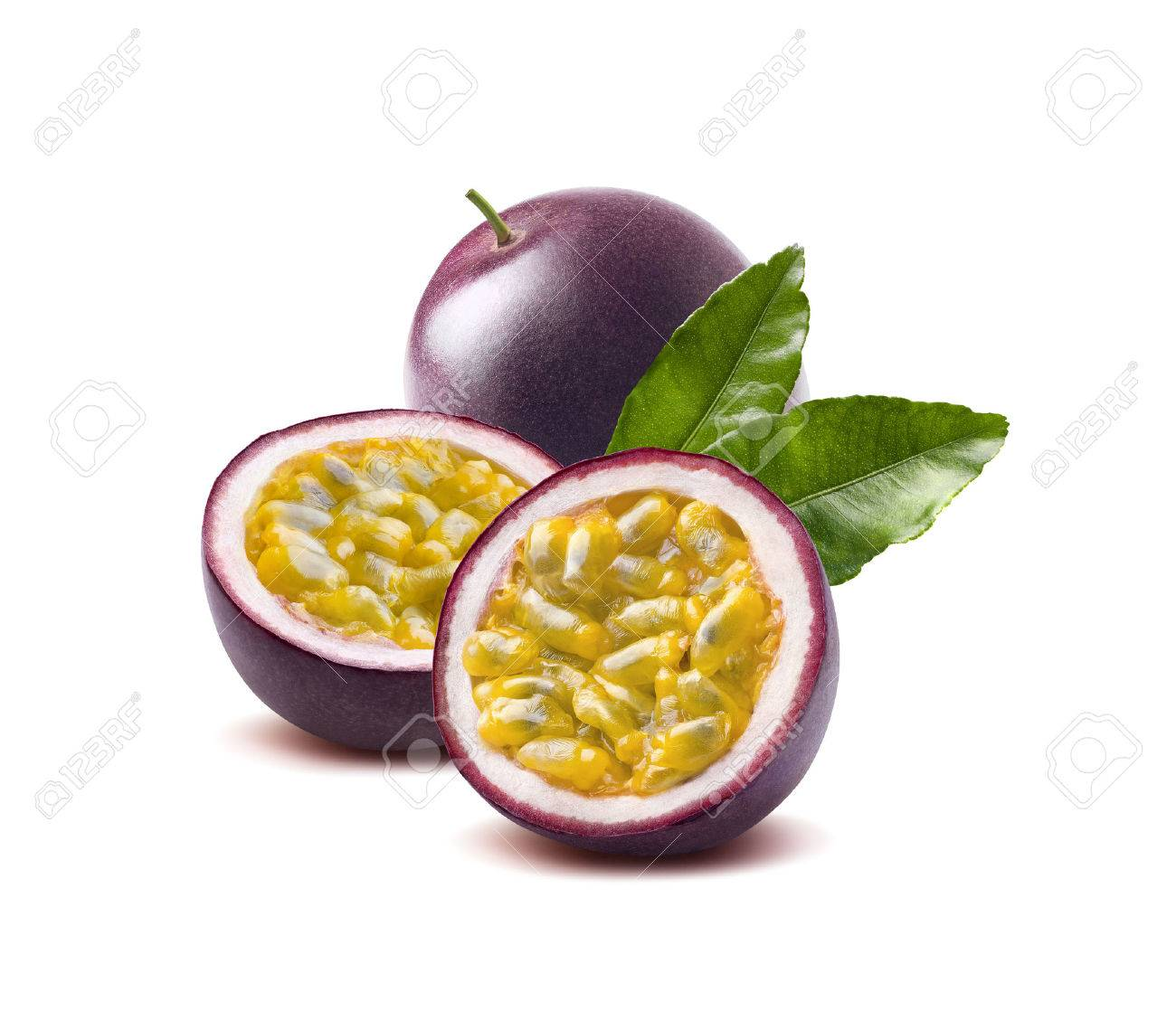 Passion fruit leaves passionfruit maraquia isolated on white background as package design element - 57008514