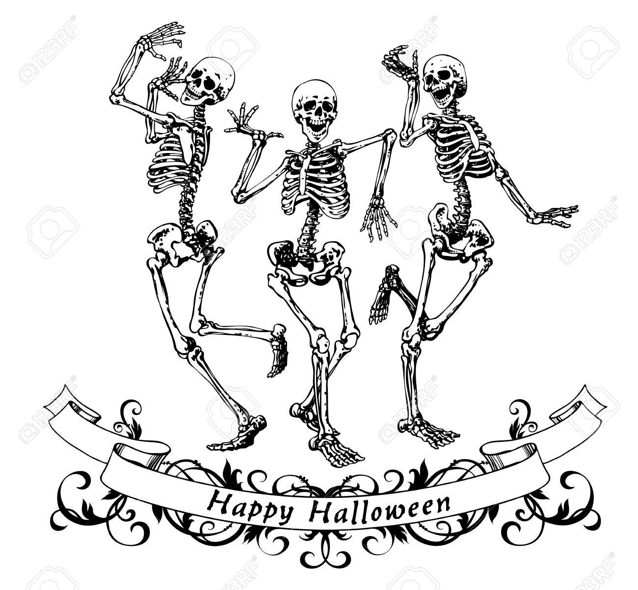 Happy halloween dancing skeletons isolated vector illustration, contour graphics for posters and banners - 63750482