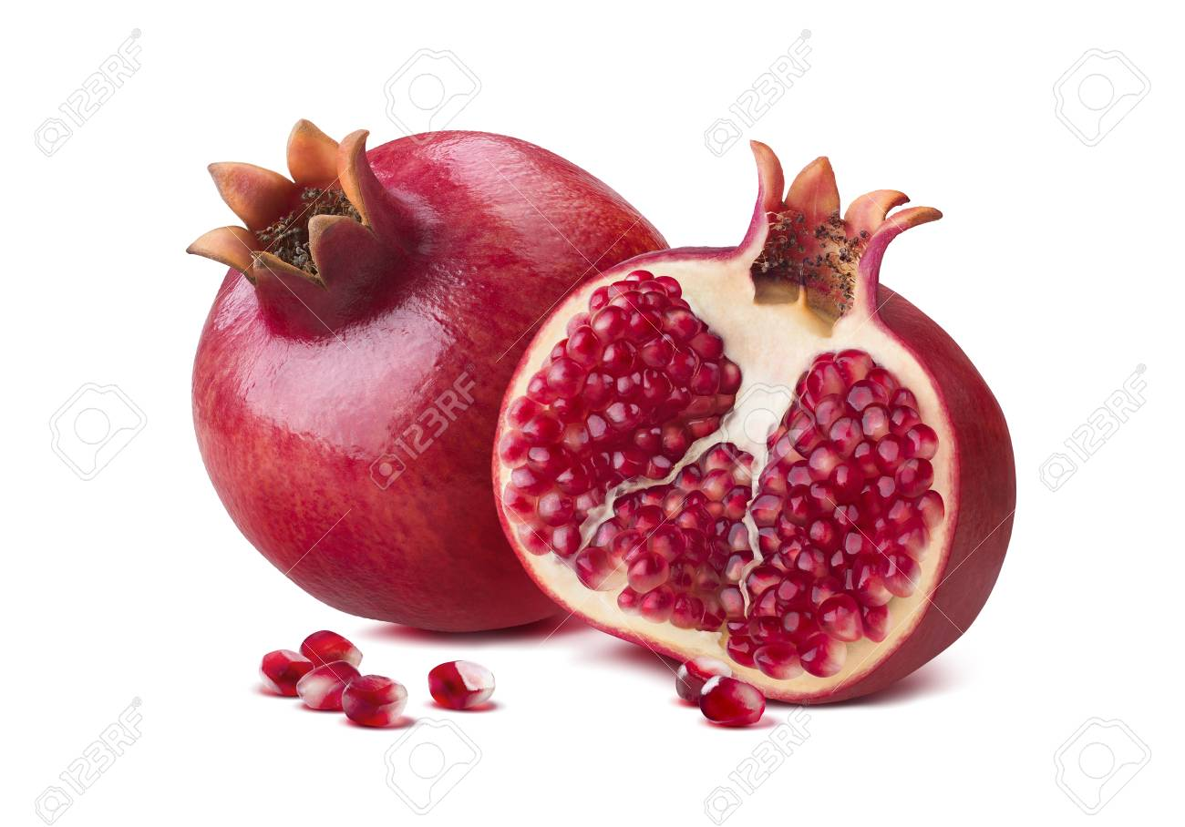 Whole pomegranate half seeds isolated on white background as package design element - 63750607