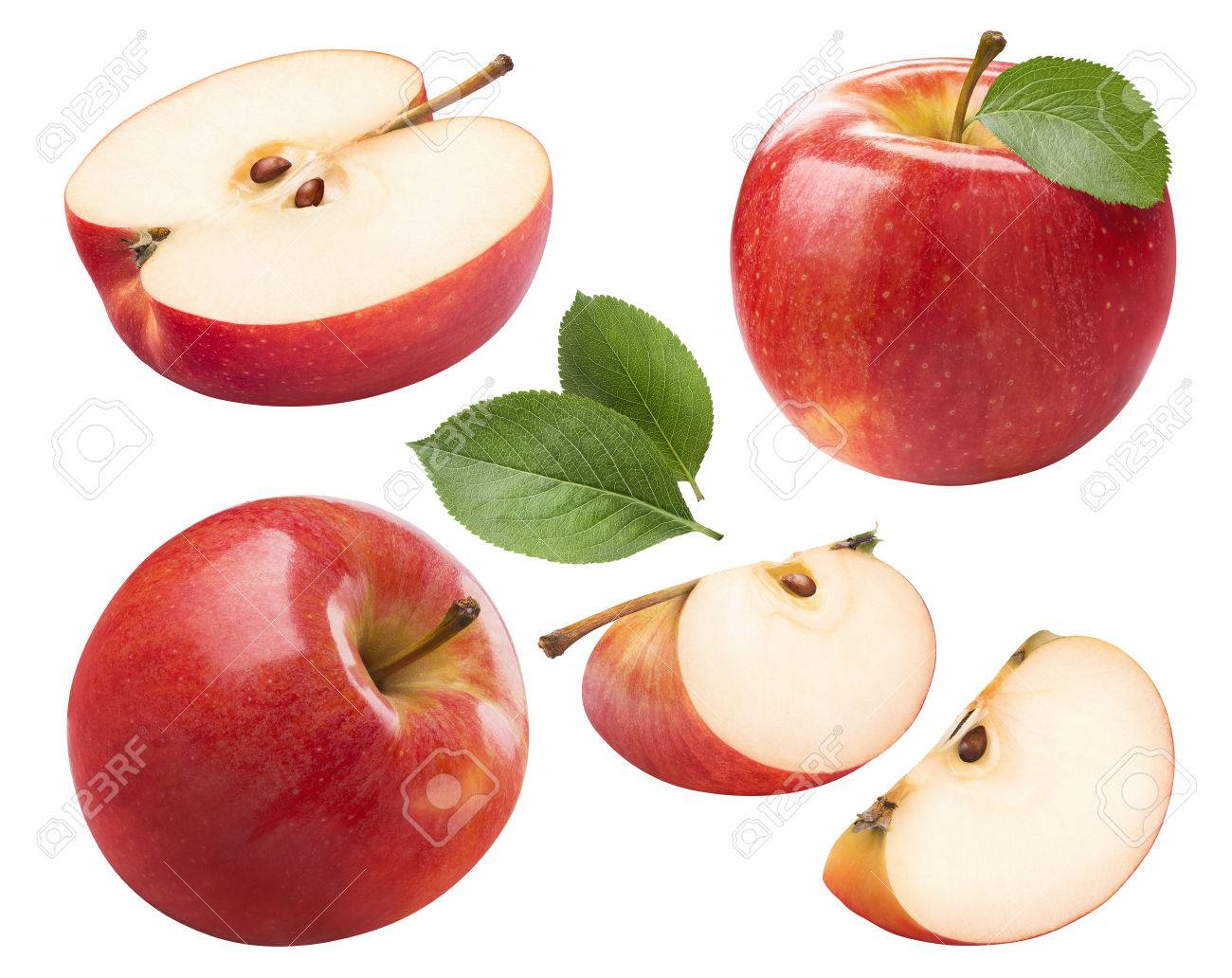 Red apple whole pieces set isolated on white background as package design element - 67178305