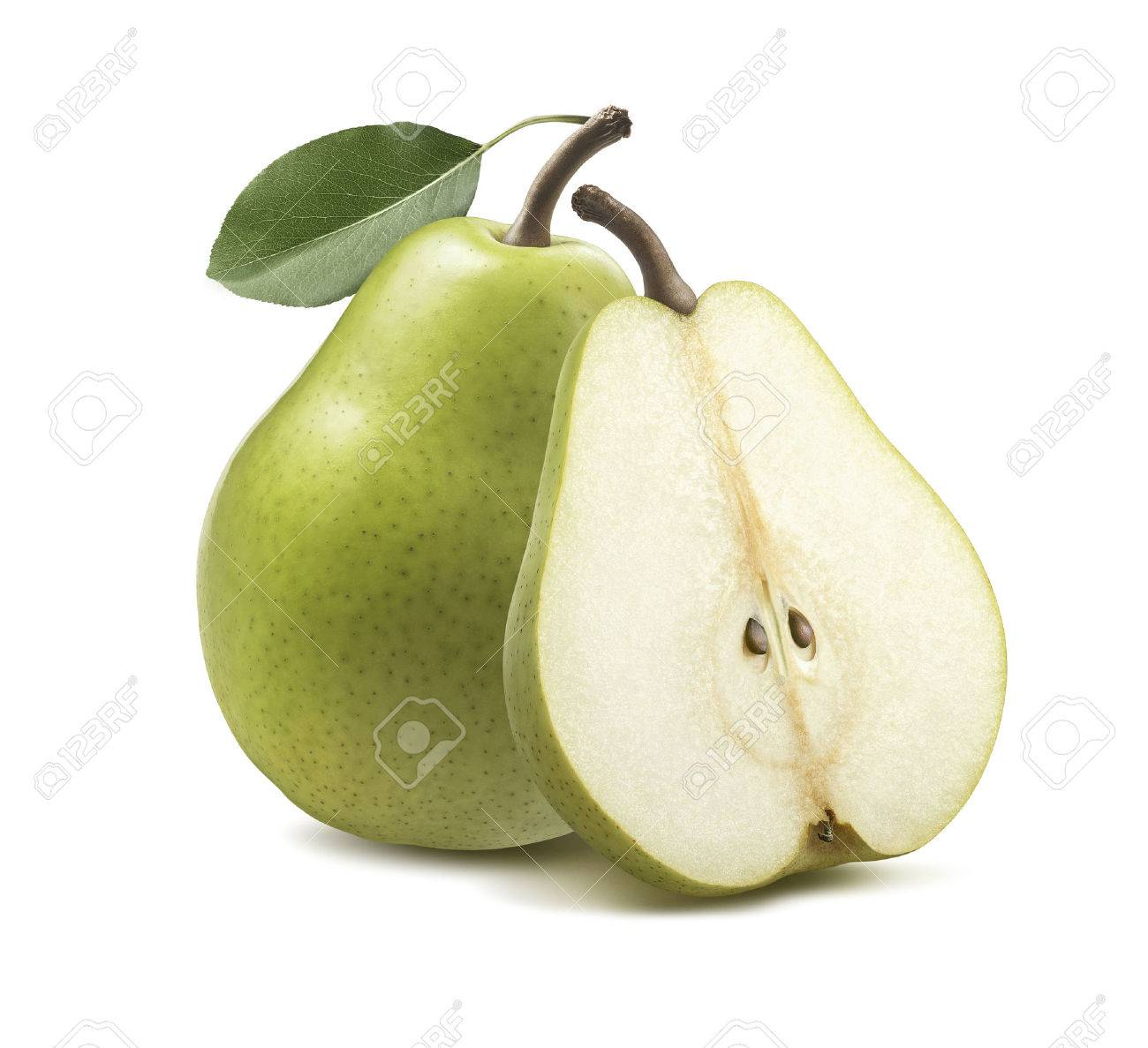 Fresh green pear half isolated on white background as package design element - 69848109