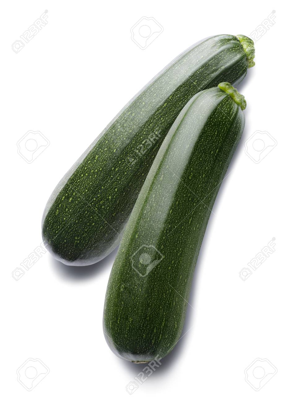 Zucchini vertical isolated on white background as package design element - 74627002