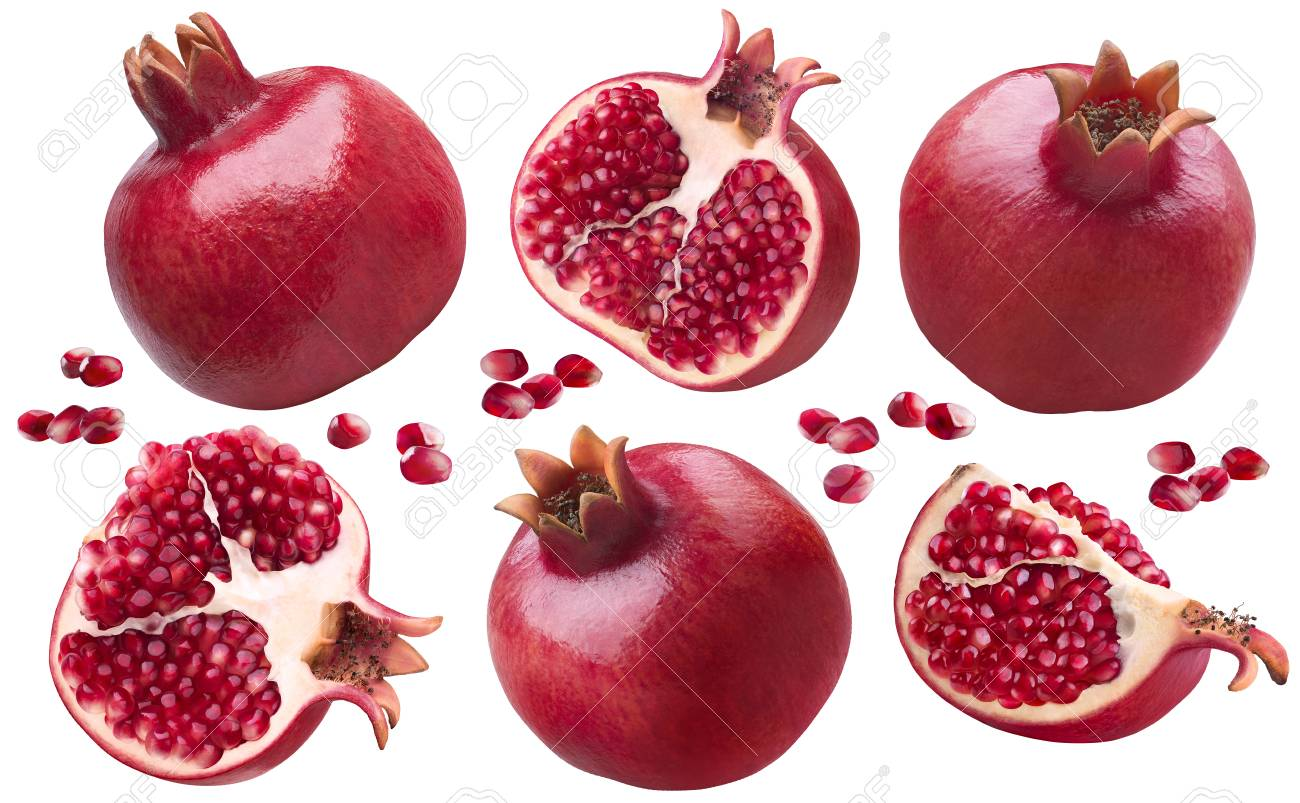 Pomegranate pieces set isolated on white background as package design elements - 78101849