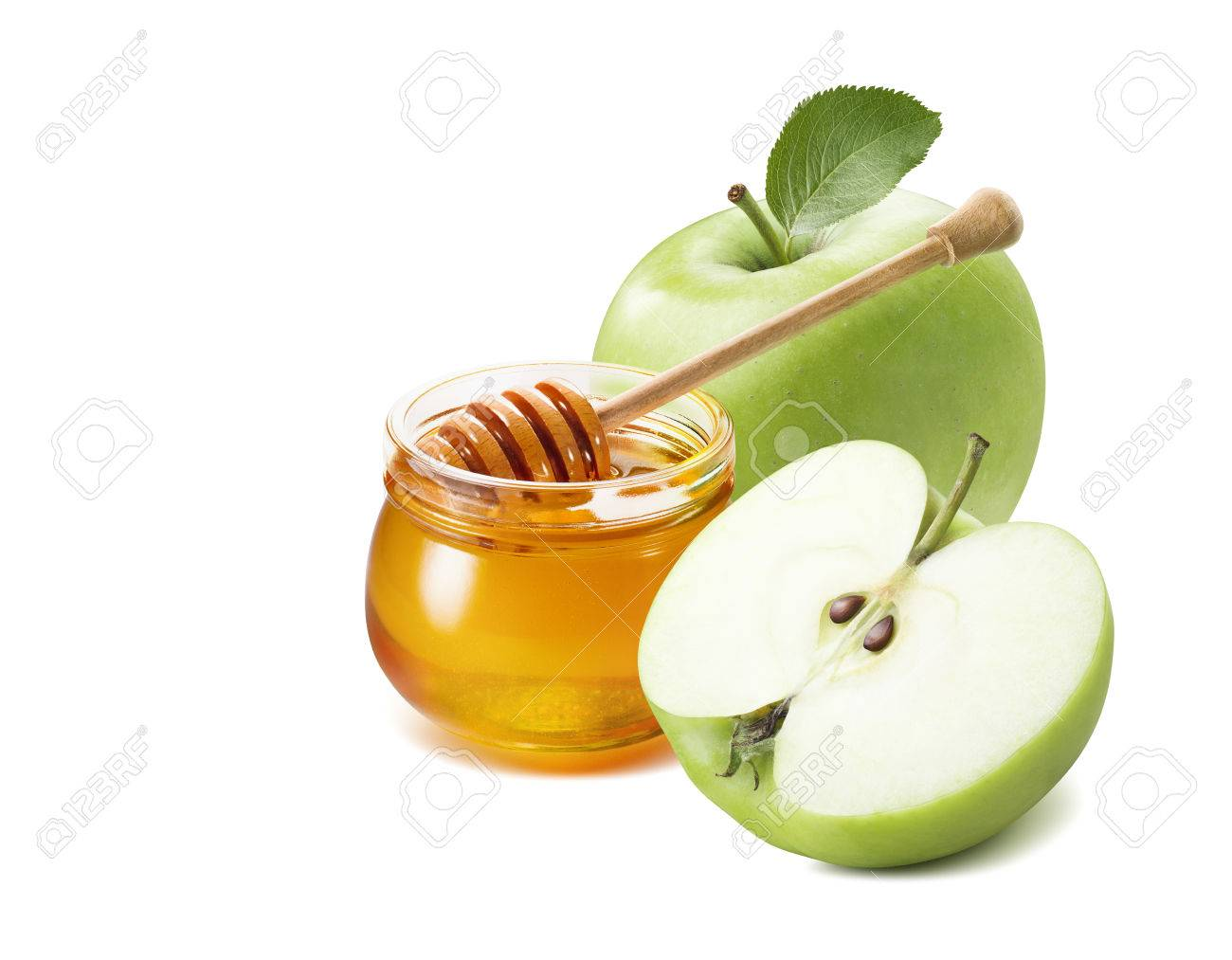 Green apple half and honey jar for Jewish New Year isolated on white background for poster design - 85110517