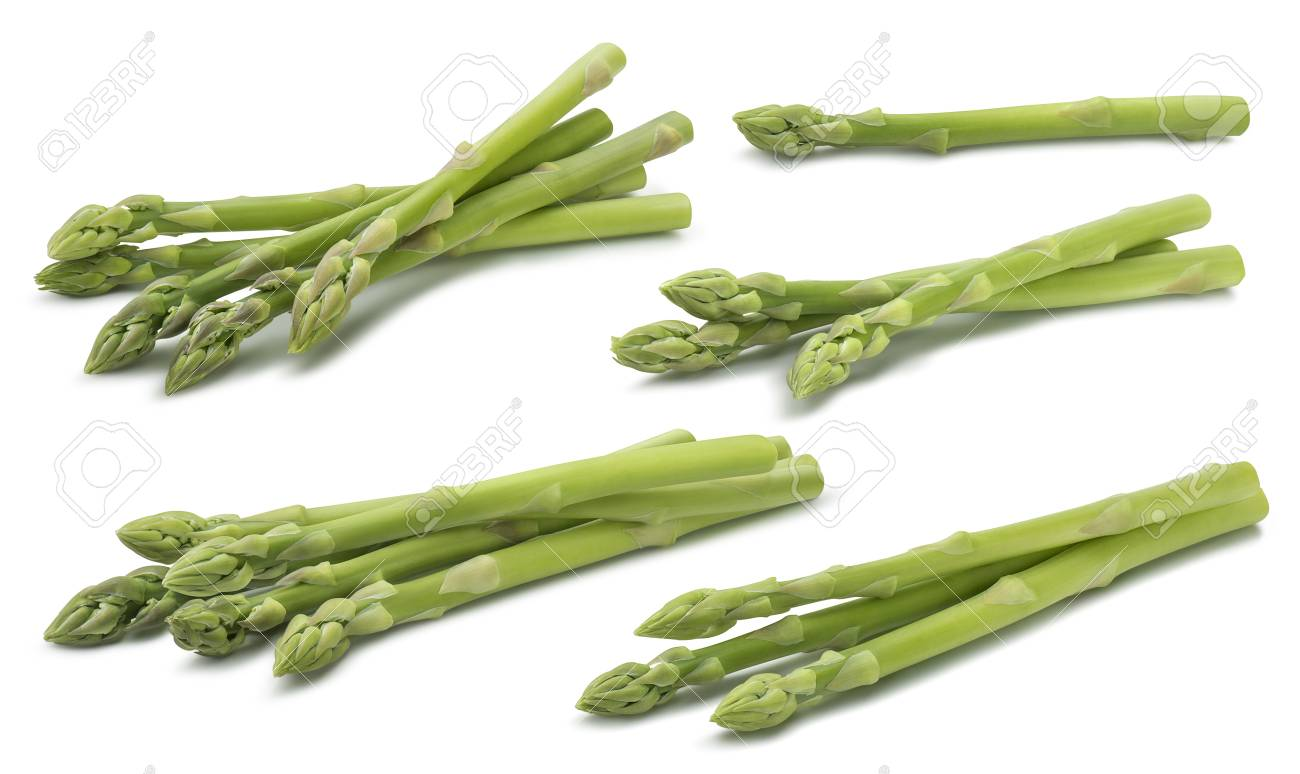Green raw asparagus set 2 isolated on white background - 94070908