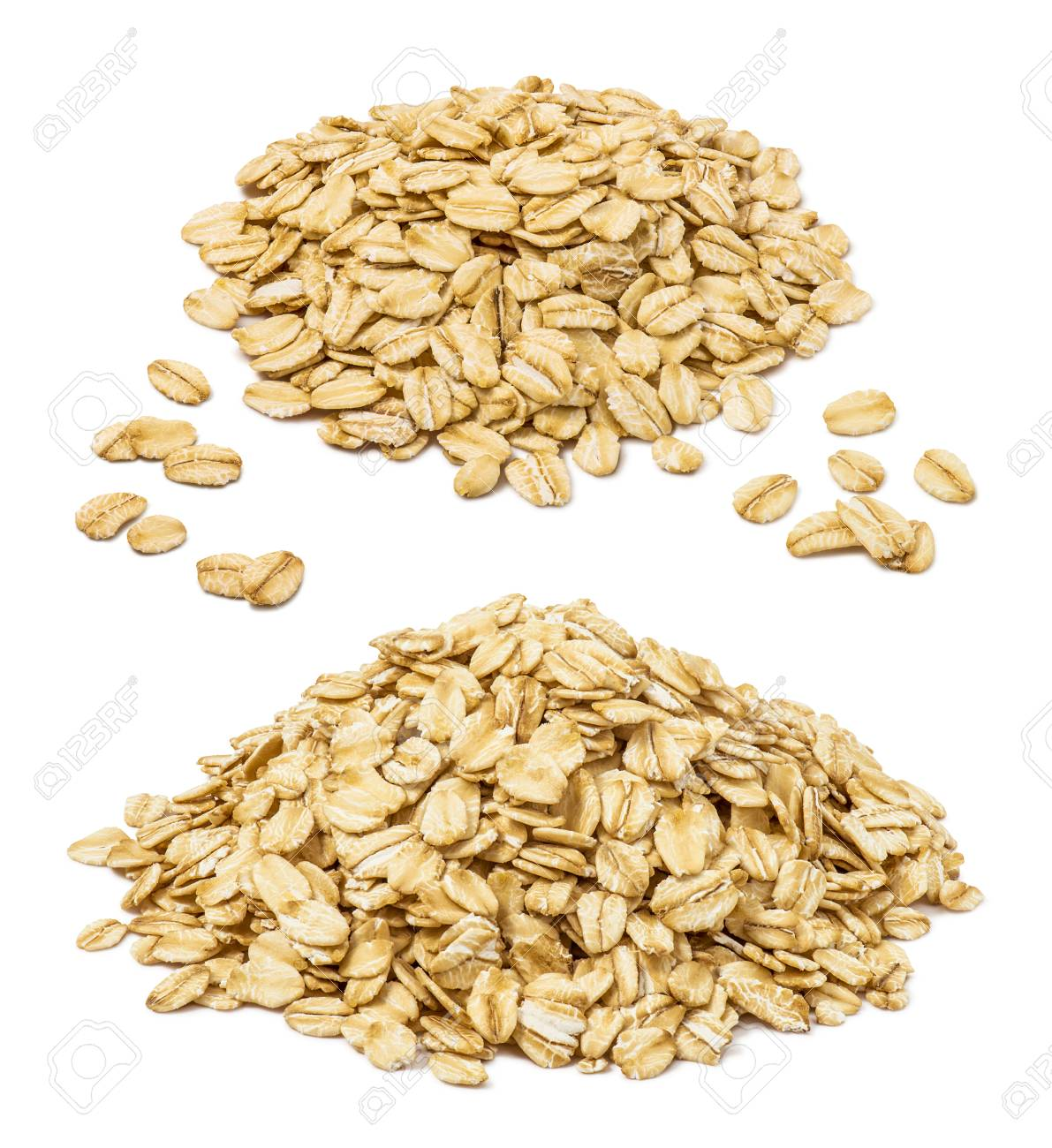 Rooled oat flakes pile set isolated on white background. Oatmeal elements for package design - 99633866