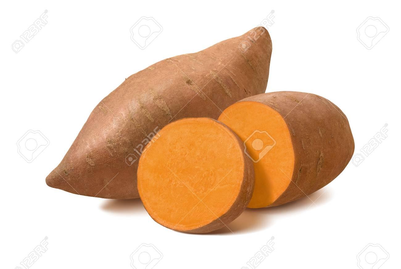 Whole sweet potato and slices isolated on white background. - 101039954
