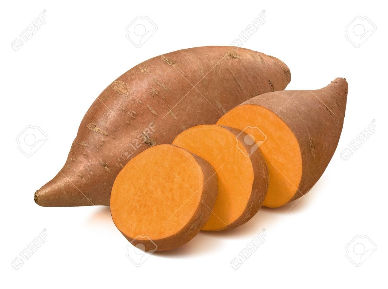 Sweet potato or yams isolated on white background. - 101039955
