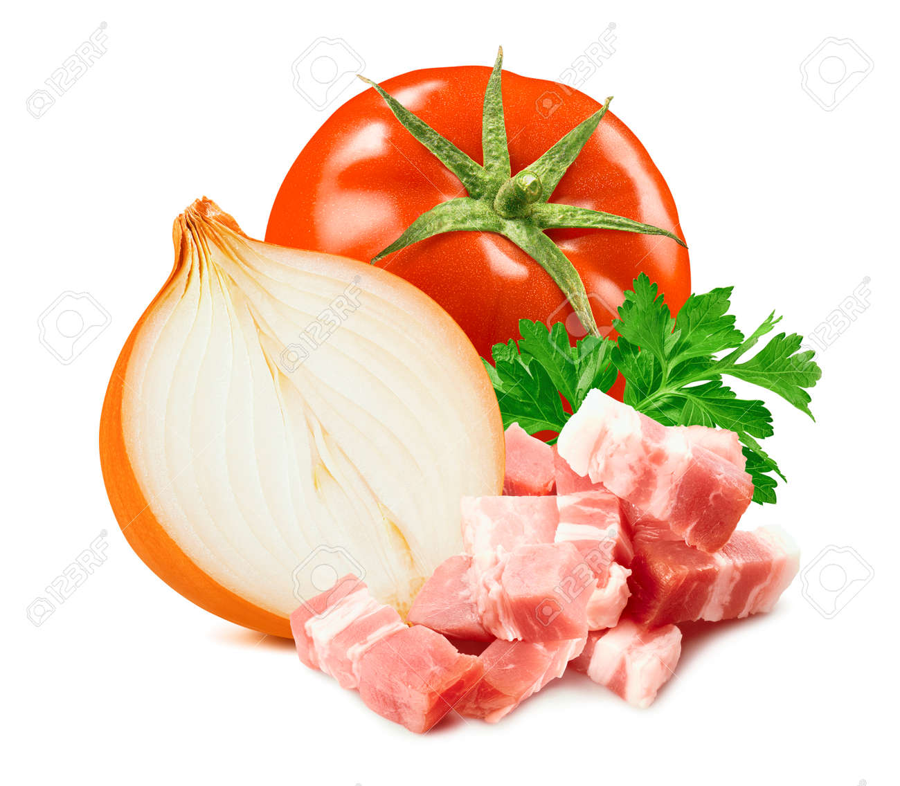 Tomato, onion, parsley and ham isolated on white - 168223482