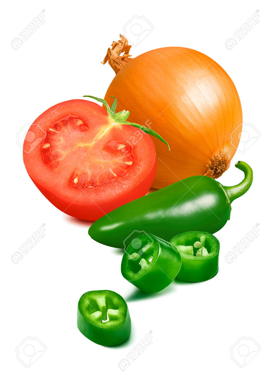 Onion, tomato and green hot pepper isolated on white - 168223481