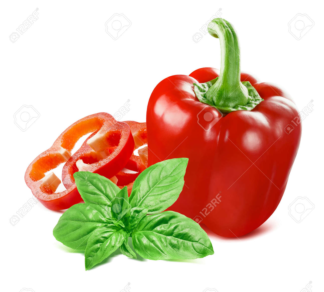 Sweet red pepper and green basil isolated on white - 168223480