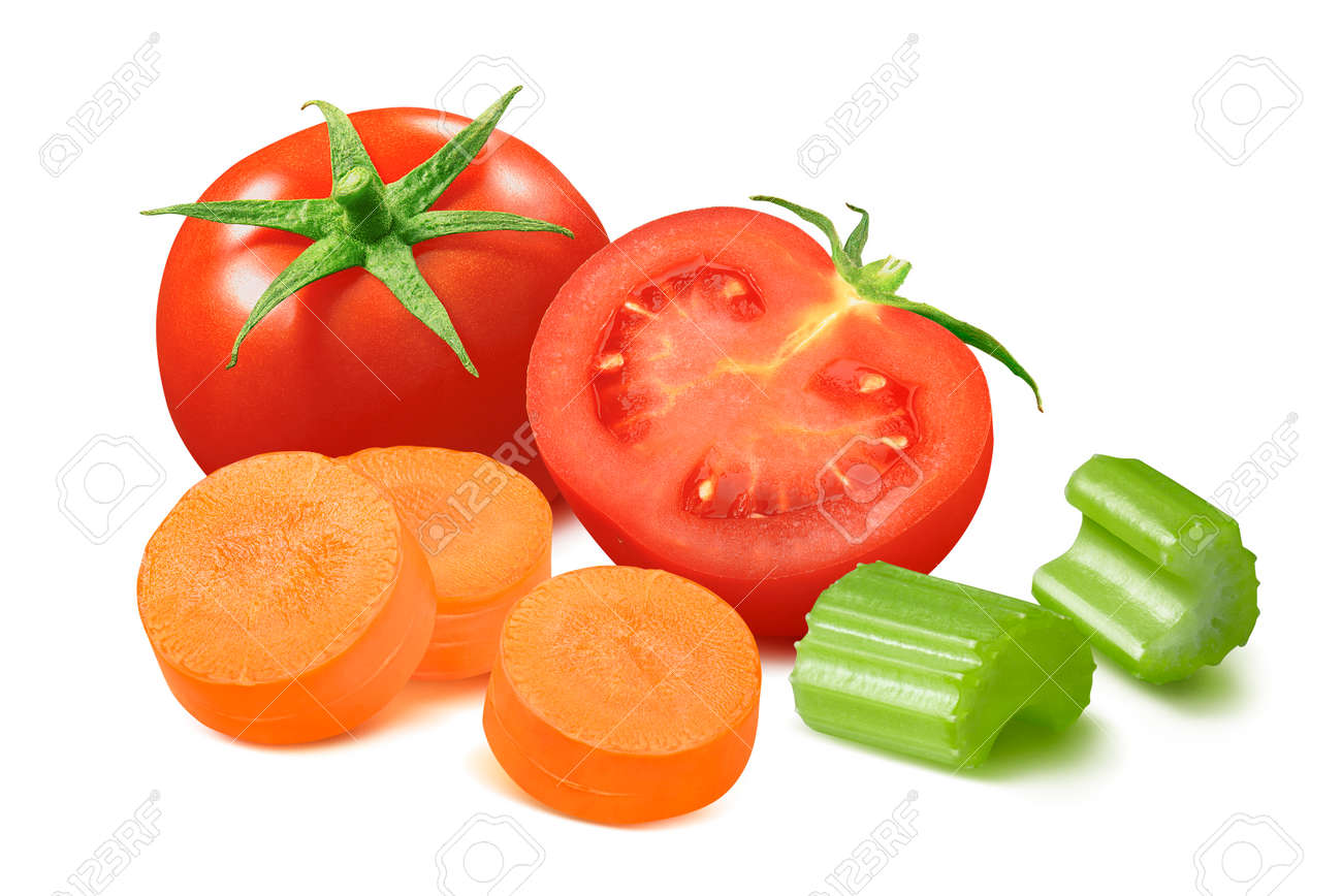 Tomato, sliced carrot and celery isolated on white - 168223489